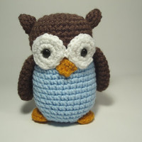 Crocheted Owl Stuffed Animal Toy Brown and Blue by NicolesCritters