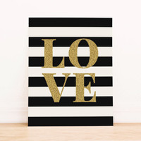 Gold Glitter Love with Black Stripes PRINTABLE ART Dorm Decor Apartment Art Office Art Nautical Art