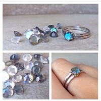 5mm moonstone or labradorite ring - faceted texture sterling silver band - made to order - size 7 ready to ship