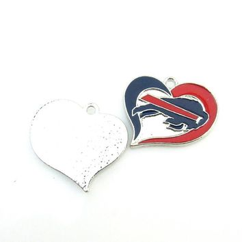 Hot selling 10pcs/lot Heart Buffalo Bills Alloy Enamel Football Team logo Pendant Necklace for Sports women Jewelry