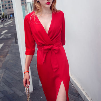 Red V-Neck Half Sleeve Tie-Waist Thigh Split Midi Dress