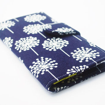 Navy Dandelion Wallet, Womens Clutch Wallet, Vegan Wallet, Navy, Olive, and White