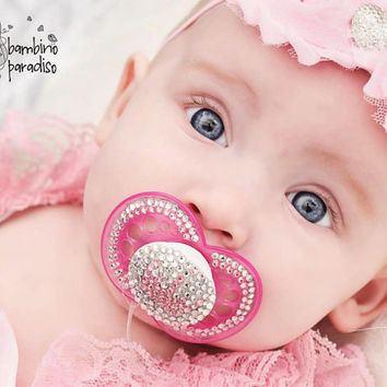Pacifier bling with Swarovski crystals.. baby pink crown and crystal white..rhinestone pacifier..baptism..christian..easter.birthday