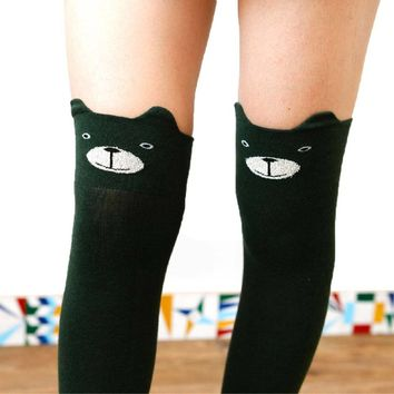 Adorable Teddy Bear Animal Themed Over the Knee Thigh High Cotton Socks in Green