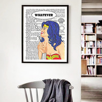A3 Large Poster Whatever dictionary art WONDER WOMAN print illustration dictionary poster funny posters dictionary art print wall art