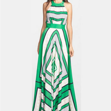 Geometric Print Halter Neck Maxi Dress in Green or Red