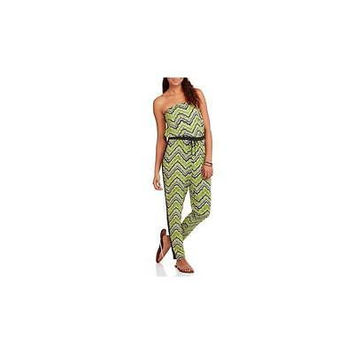 Eye Candy Juniors Strapless Jumpsuit With Tuxedo Stripe, Green/Black, Medium