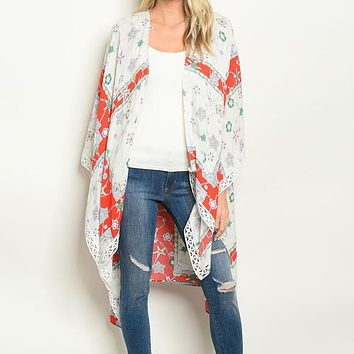 Long Sleeve Red Ivory Starfish Print Kimono Duster Size M-L