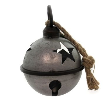 Christmas JINGLE BELL WITH ROPE SILVER SM Metal Galvanized Star Cha419