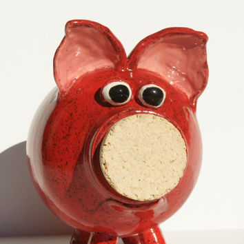 Ruby the Red Ceramic Piggy Bank - Hand Thrown Stoneware Pottery