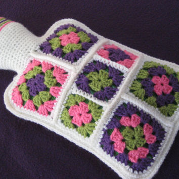 Crochet Pattern Granny Square Hot Water Bottle Cover Cosy PDF
