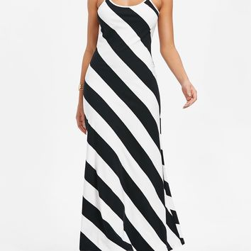 Black and White Striped Open-Back Maxi Dress