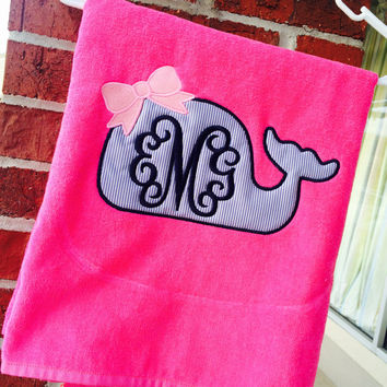 Tropical Pink Beach Towel WHALE Applique large MONOGRAM font shown INTERLOCKING in navy