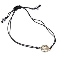 Women's Friendship Bracelet with Tree of Life Icon - Black/Gold