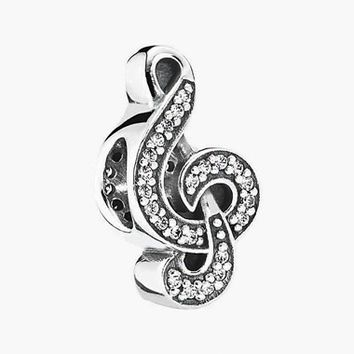 Women's PANDORA 'Sweet Music Note' Bead Charm - Silver/ Clear Cz