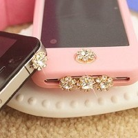 A set of bling crystal anti dust, home button sticker, dock charge antidust for iphone 4S