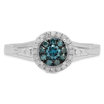 0.30 Carat (ctw) Sterling Silver Round White & Blue Diamond Ladies Cluster Engagement Ring