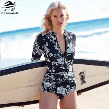 High quality Zipper Retro Floral Top Neck & Long Sleeves Sexy Women One Pieces Swimwear Wire Free Swimsuit Surfing Bathing suit