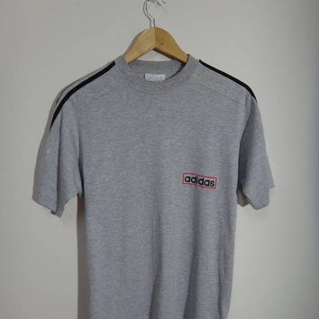 Hot sale 30% off rare Vintage 90s Adidas tshirt 3 stripe grey