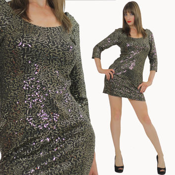 Sequin dress beaded mini gold metallic deco bandage body con Cocktail Party scoop neckline long sleeve wiggle Boho party mini dress mall