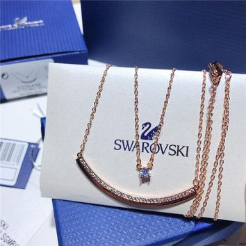 KUYOU Swarovski new FRESH pendant double layer necklace simple rose gold clavicle chain necklace