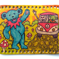 Upcycled leather patch, Grateful Dead dancing bears, camper van, skeleton, hand drawn and inked, deadhead art, lacquered, handmade