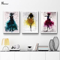 Fashion Girl Skirt Art Canvas Poster Print Abstract Chinese Ink Painting Picture for Modern Home