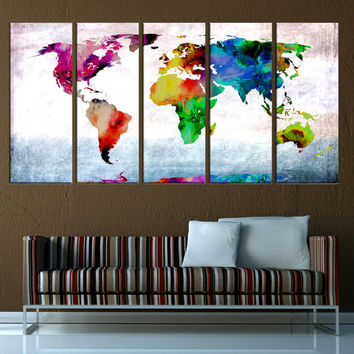 Abstract  world map wall art Canvas, Large wall Art canvas print, abstract wall art World Map print, extra large world map print t587