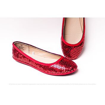 Red Sequin Ballet Flats
