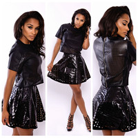 Black Cut-Out Cropped T-shirt and Mini Skirt