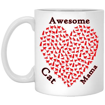 Awesome Cat Mom Coffee Mug, Ceramic Cat Lovers Cup With Comfort Handle Grip