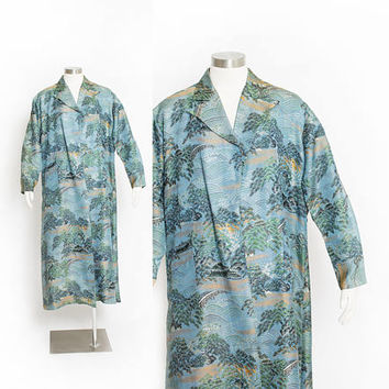 Vintage 1950s Asian Jacket - Blue Brocade Japanese Scene Full Length Evening Coat - Large