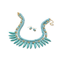 Magnesite Spike Fashion Necklace and Earring Set