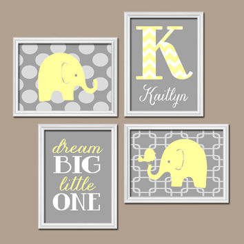 Yellow Gray Chevron Monogram Child Name Elephant Bird Polka Dot Dream Big Little One Nursery Artwork Set of 4 Prints Baby Girl WALL ART