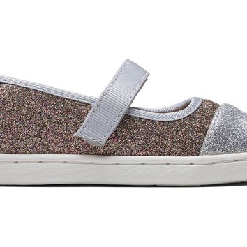 TOMS - Tiny Mary Jane Silver Gold Iridescent Glimmer Flats