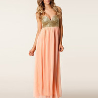 Golden Sequined Strapless High Waist Pleated Maxi Dress