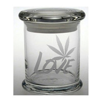 Weed Etched Glass Stash Jar Cannabis Air Tight Container LOVE Medical Marijuana Cross Bong Ganja Hemp Hippy MMJ Colorado California