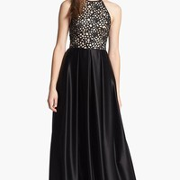 ABS by Allen Schwartz Embroidered Bodice & Satin Skirt Gown | Nordstrom