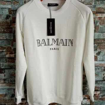 Balmain Women White Top Sweater Pullover Sweatshirt