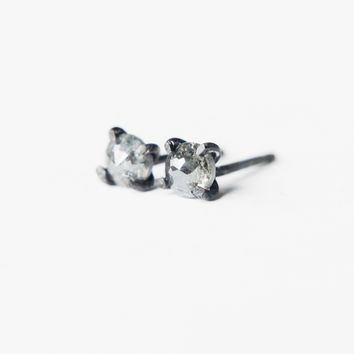 Gray Rose Cut Conflict Free Diamond Stud Earrings