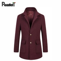 2017 Winter Peacoat Wool Blends Suit Design Coats Mens Burgundy Casual Trench Coat Slim Fit Single Breasted Jackets For Men