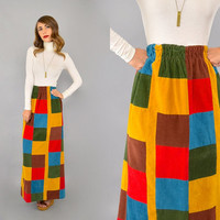 70's Corduroy PATCHWORK Maxi Skirt