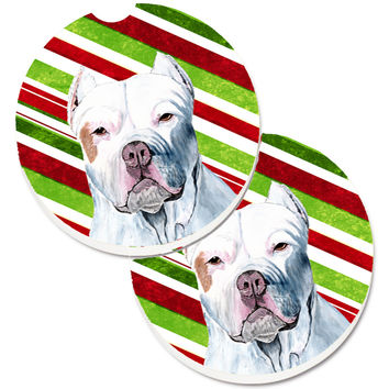 Pit Bull Candy Cane Holiday Christmas Set of 2 Cup Holder Car Coasters SC9341CARC