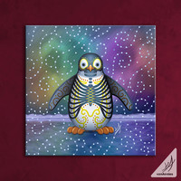 Noche del Pinguino Night of the Penguin Wrapped Canvas Print