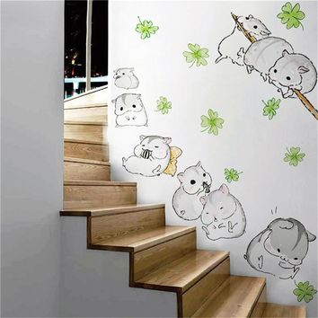 Lovely Little hamster Wall Stickers For Kids Rooms kindergarten Cartoon Wallpaper Home Decoration Adesivo De Parede 2016
