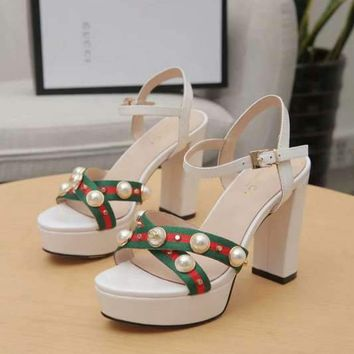 GUCCI Women Fashion Pearl White Ankle Strap High Heels Shoes
