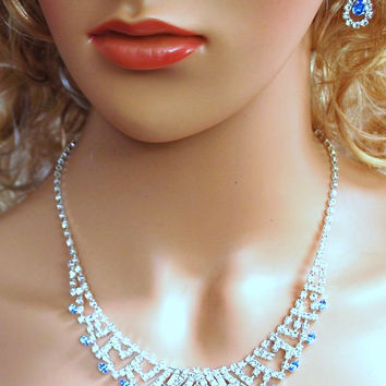 """Bridal Wedding Prom Pageant Crystal Necklace and Earring Set, 18"""" with Adjustable Chain N1Y87"""