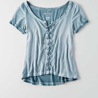 AEO Soft & Sexy Lace-Up T-Shirt , Night Shade