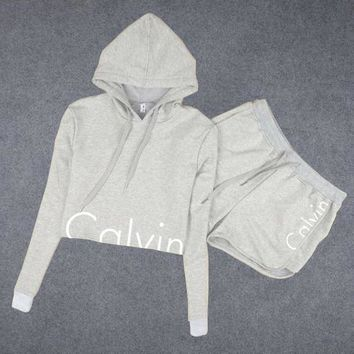 Calvin Klein Print Hoodie Shirt Top Shorts Set Two-Piece