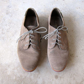 Leather Oxfords Suede Loafers Lace Up Oxfords Green Gray Suede Shoes Preppy Classic Derby Shoes 80s Vintage Oxfords womens 8